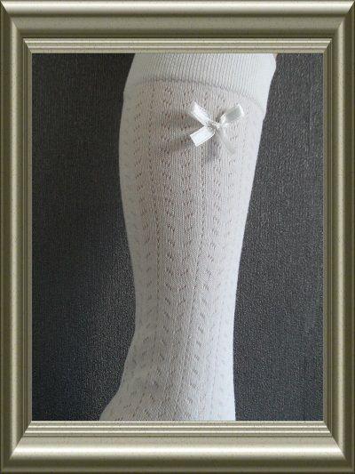kniekousen dames wieber wit met strikje van Ewers
