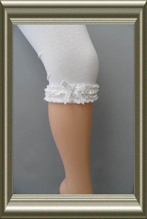 meisjes legging capri wit met roezelrand van yellow moon